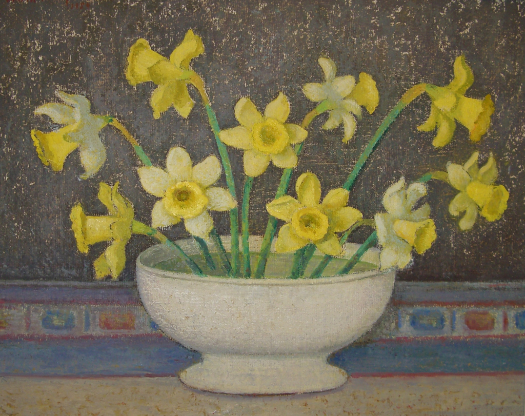 Daffodils in White Bowl